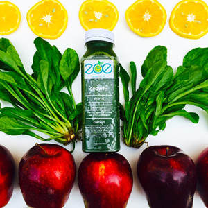 The energizing cold-pressed juice - Feel the Growth packed with cucumbers , orange and spinach
